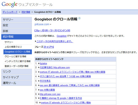 Googleクロール情報