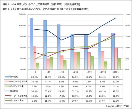 「従業員規模別」アクセス誘導対策の実施と効果(2008-2009)